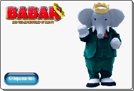 Animation BABAR animation personnage mascotte de babar et Badou Evasion communication TF1 Nelvana costume adulte location vente prestation mascottes officielles evasion net event france